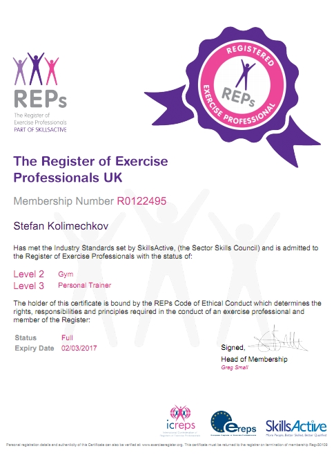 REPs UK Personal Trainer Level 3 Certificate