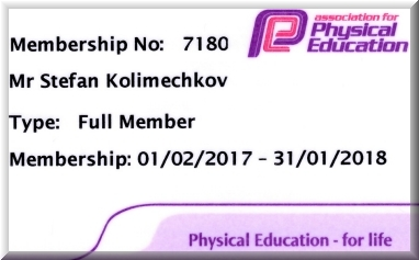Stefan Kolimechkov Full Member of the Association for Physical Education afPE