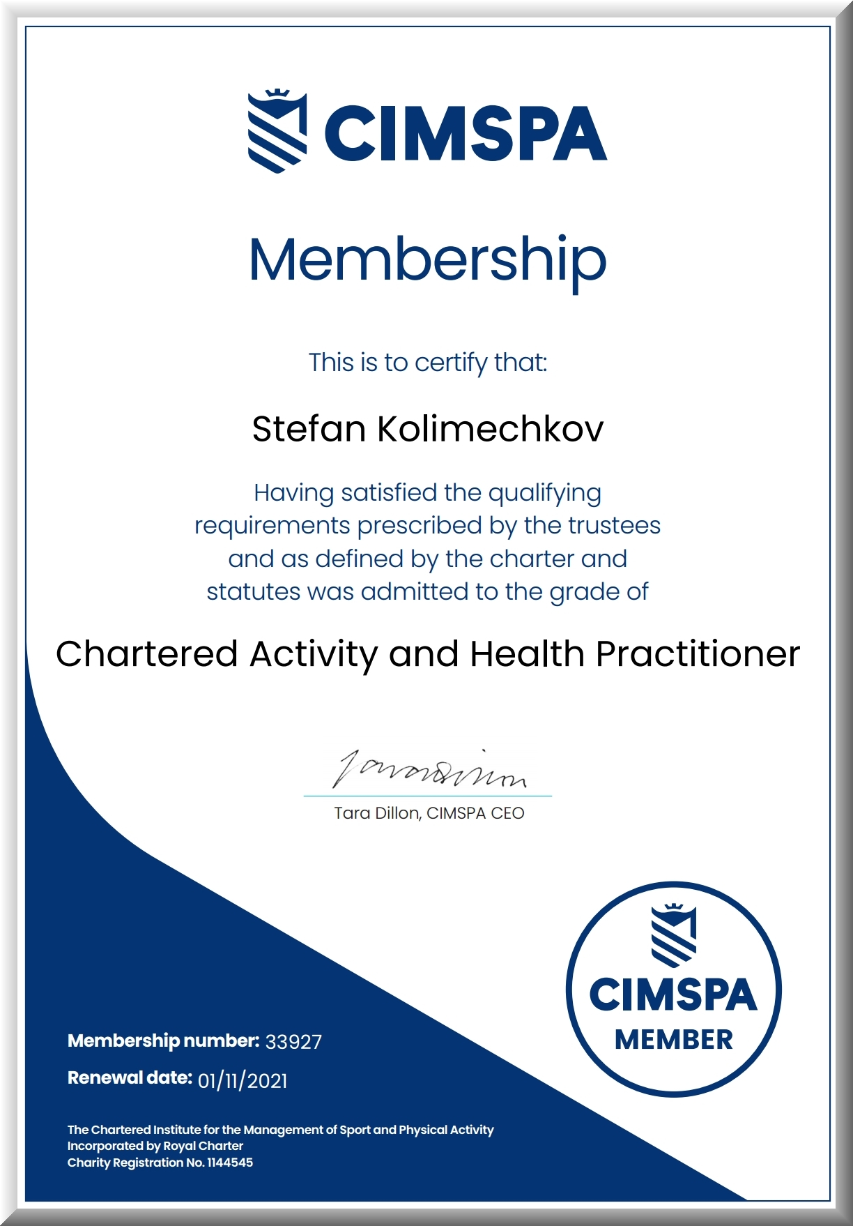 Chartered Activity and Health Practitioner of CIMSPA