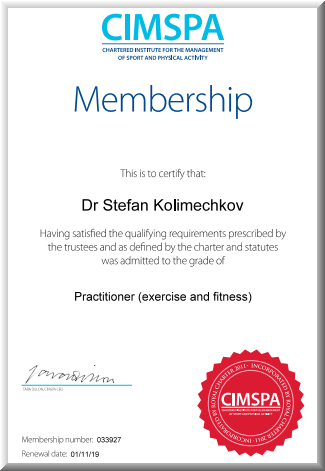 Practitioner Member of the Chartered Institute for the Management of Sport and Physical Activity (CIMSPA)