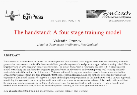The Handstand: A Four Stage Training Model