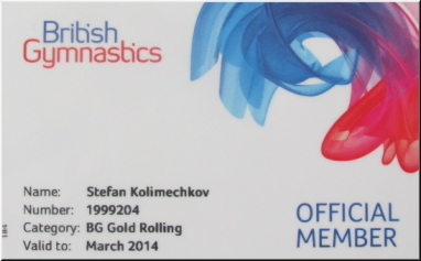 British Gymnastics Gold Membership Card