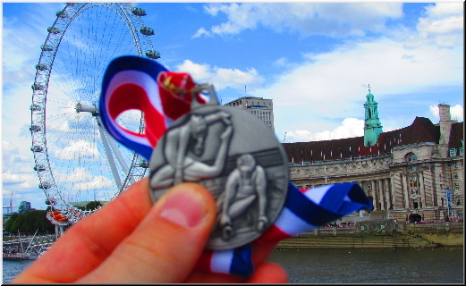 Stef's silver medal on the beautiful background of  London Eye