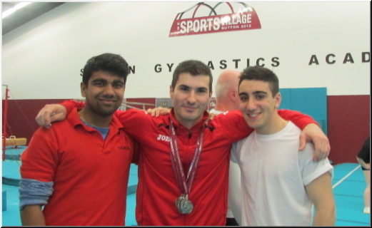 Stef with coaches Anand and George Elite GC - Sutton Gymnastics Academy