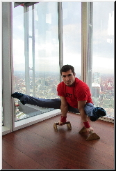 Stefan Kolimechkov doing gymnastics at the highest building in the European Union