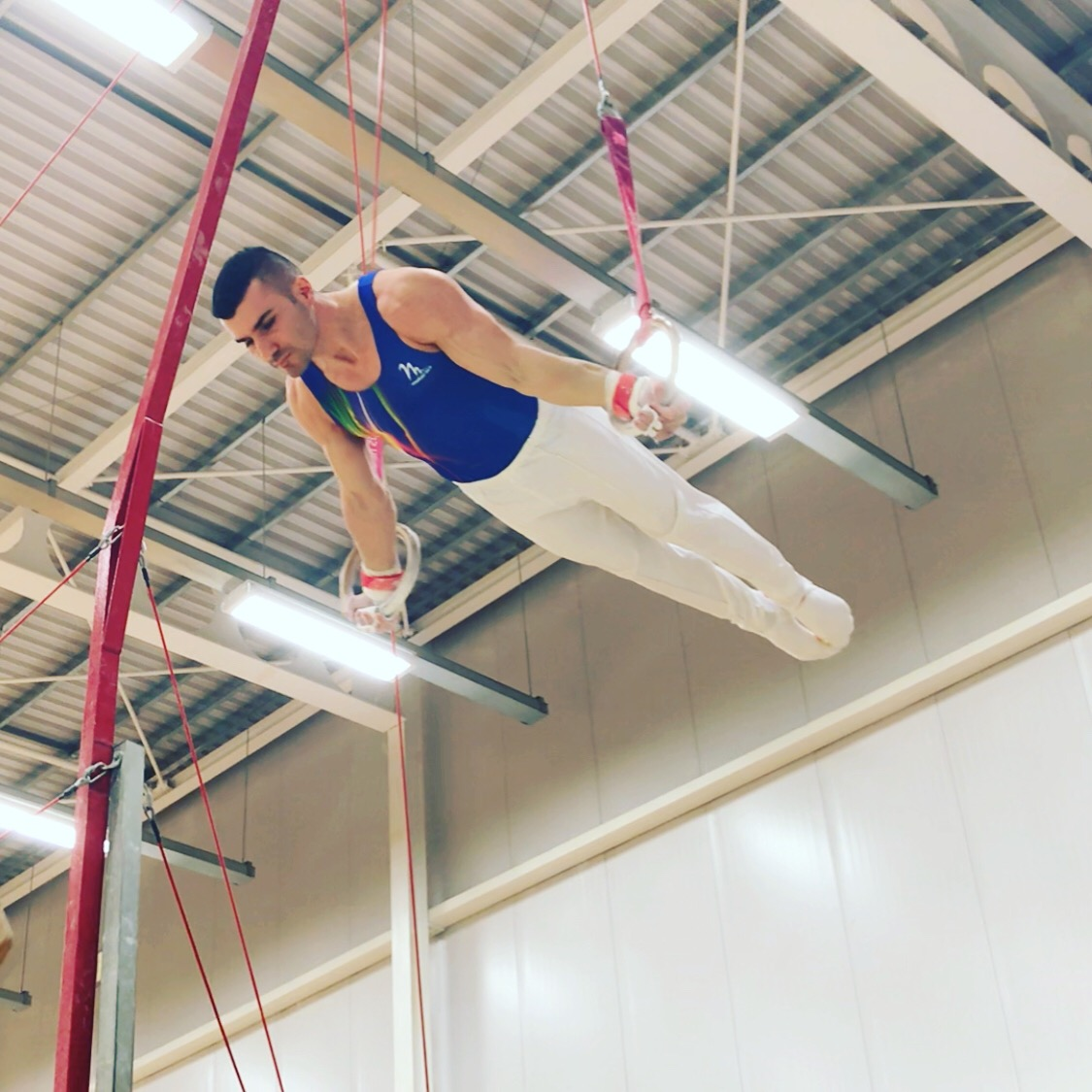 coach Stef from Elite gymnastics was the only one performing a Maltese Cross on the Rings at the 2019 London Championships