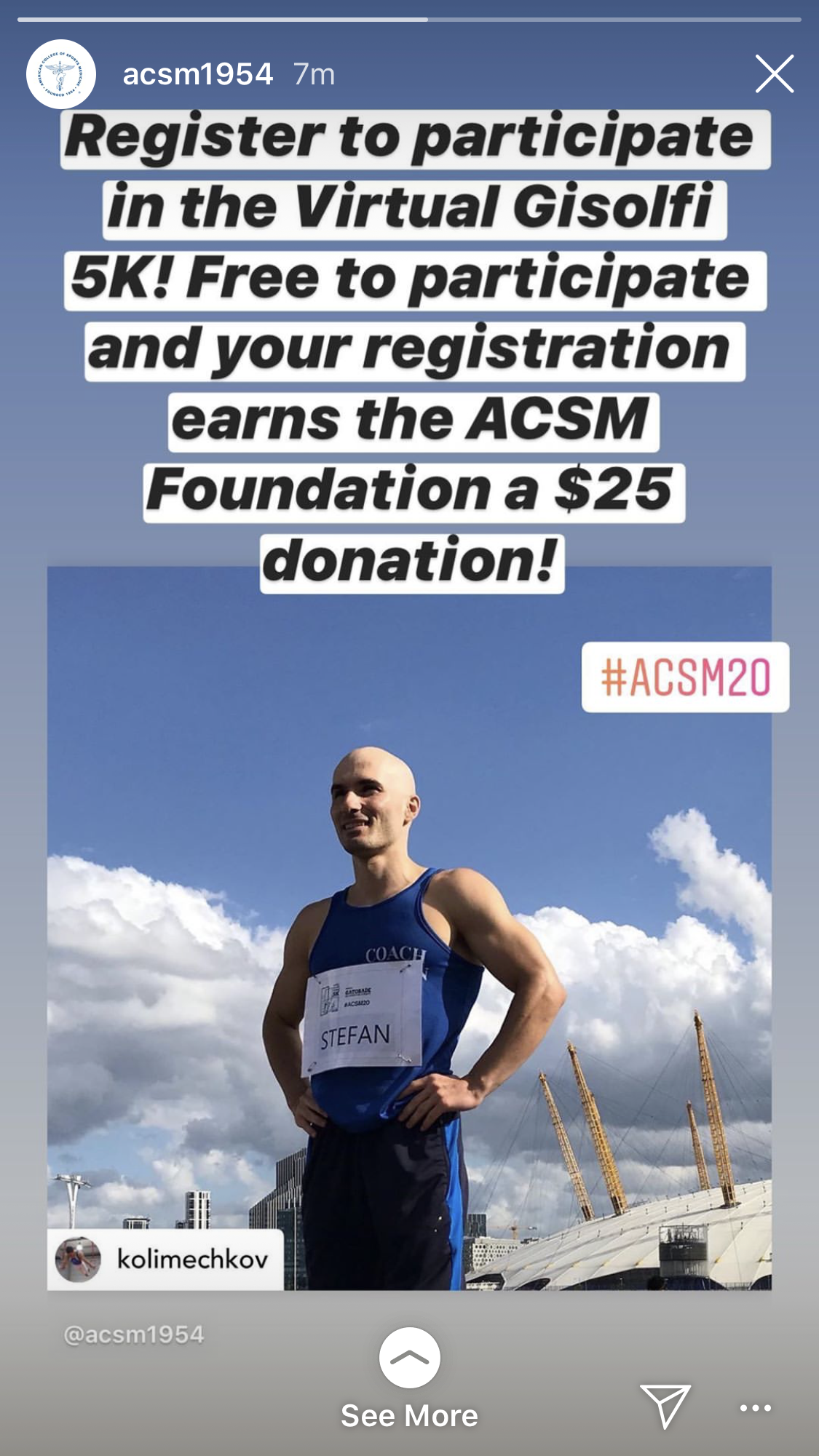 Dr Stefan Kolimechkov at the ACSM Virtual 5K Run 2020