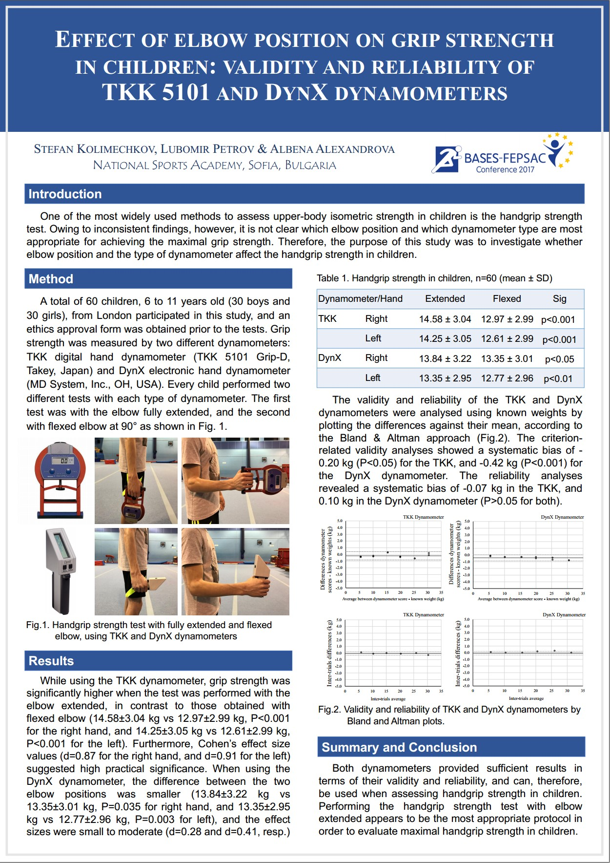 Effect of elbow position on grip strength at the BASES-FEPSAC Conference 2017