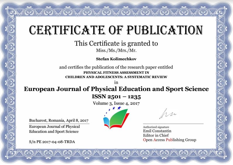 Certificate of Publication - Stefan Kolimechkov