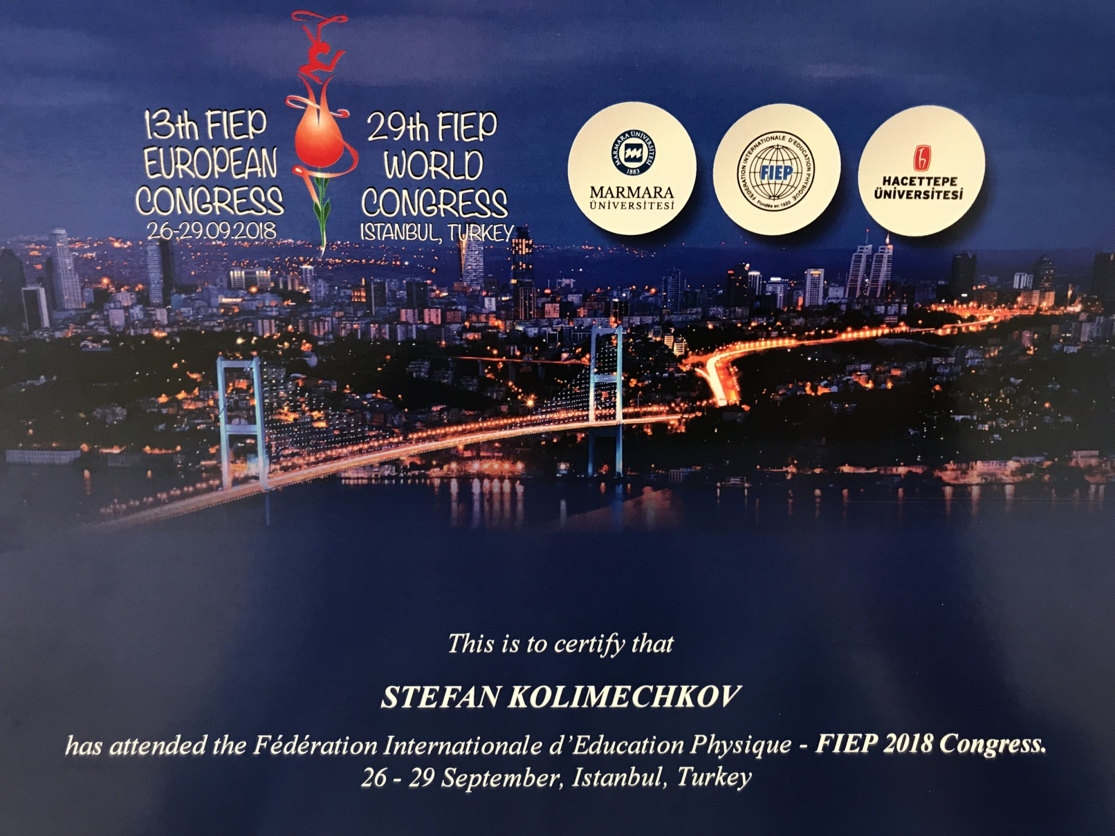 Dr Kolimechkov - certificate of participation at the 13th FIEP European Congress