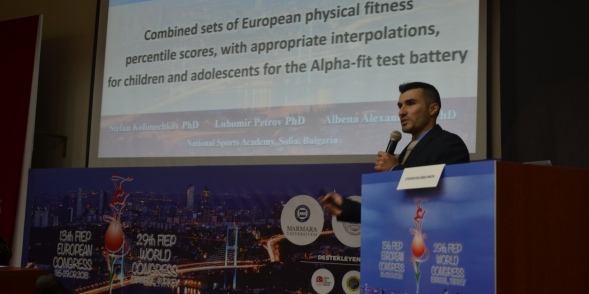 Dr Stefan Kolimechkov presents his research at the 2018 FIEP Congress in Istanbul