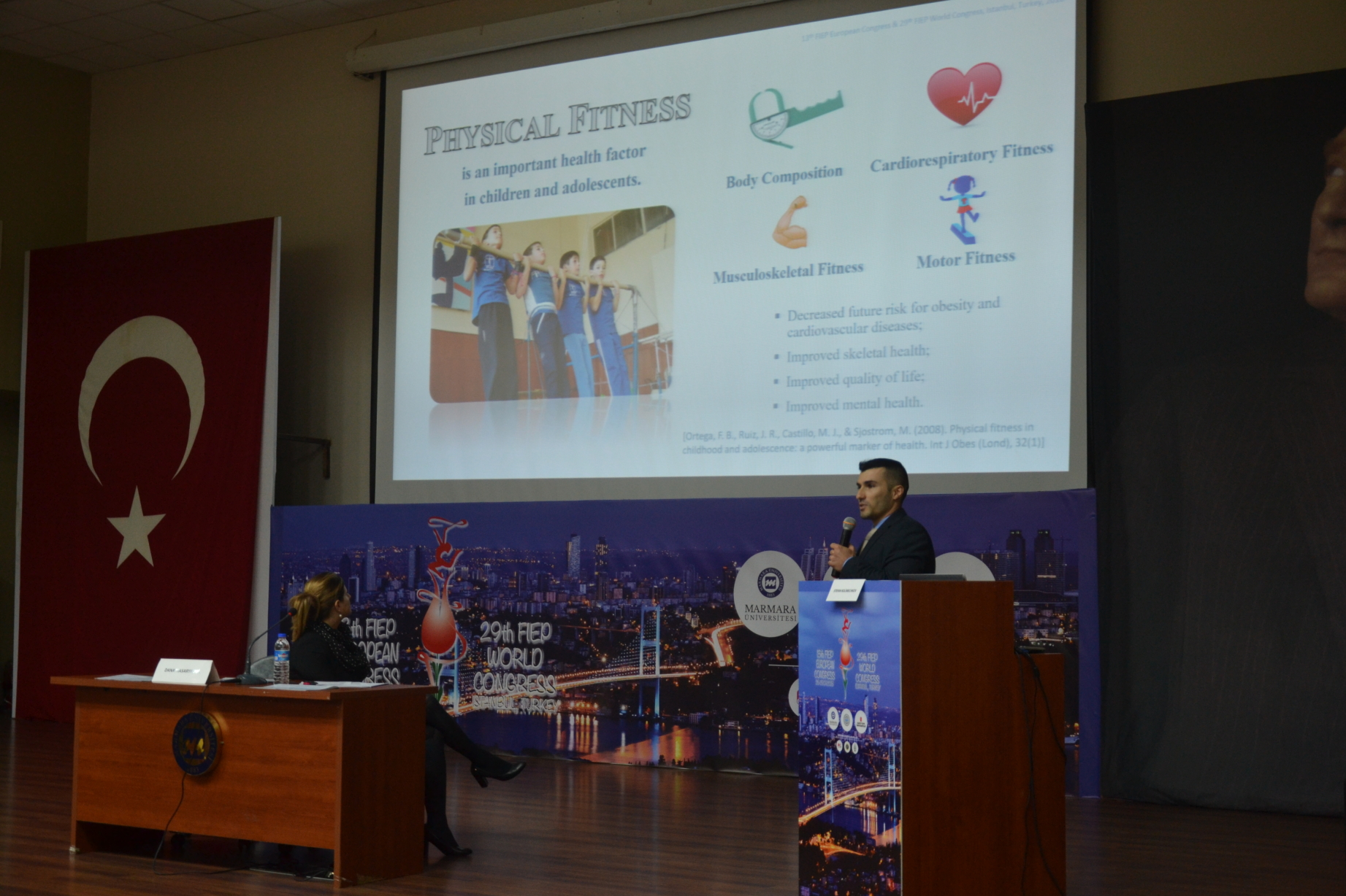 Doctor Stefan Kolimechkov presents research at the 13th European and 29th World FIEP Congress in Istanbul, 2018