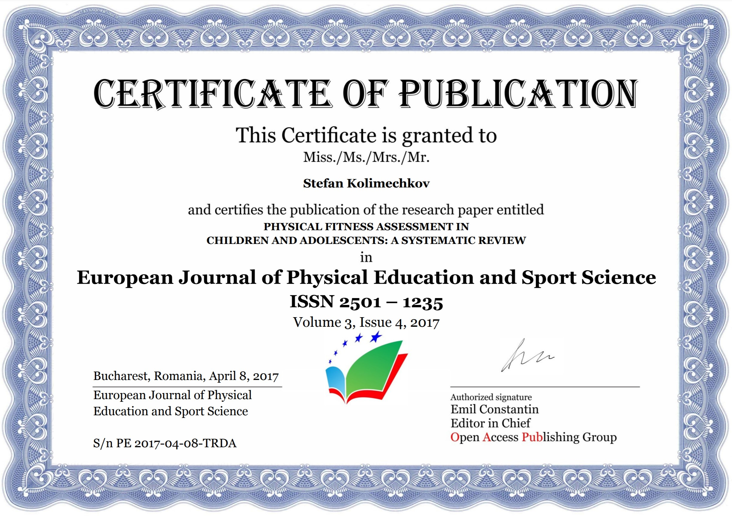 Physical fitness assessment in children and adolescents: a systematic review - Certificate of Publication